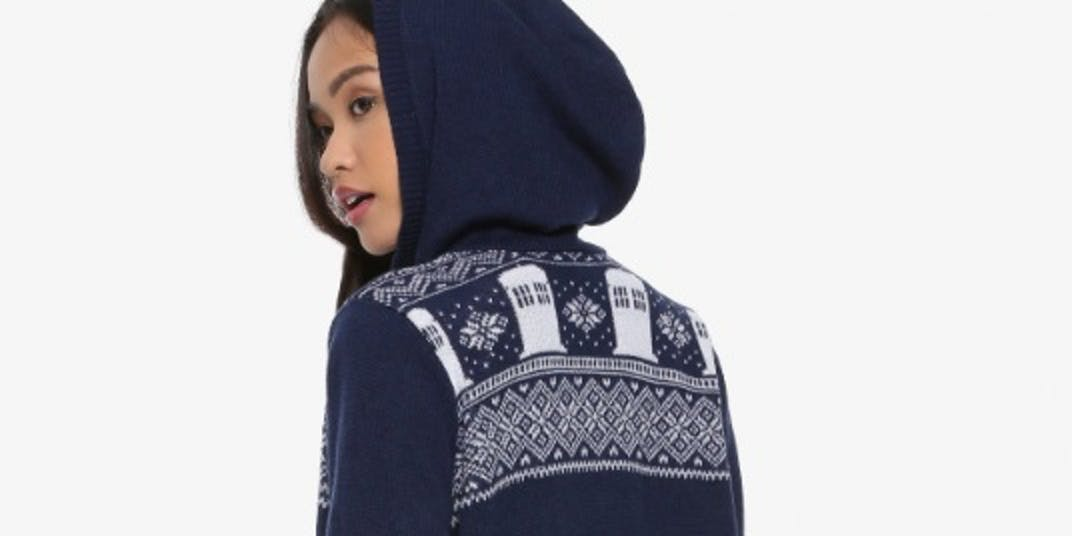 HER UNIVERSE DOCTOR WHO TARDIS INTARSIA GIRLS HOODED CARDIGAN