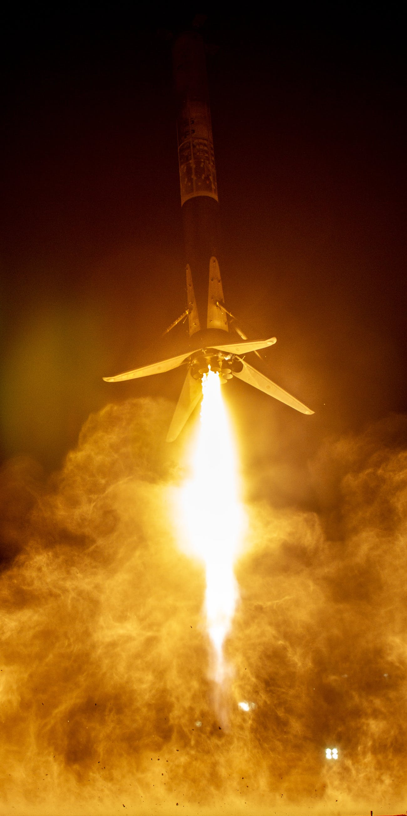SpaceX's capture of the first stage booster landing.
