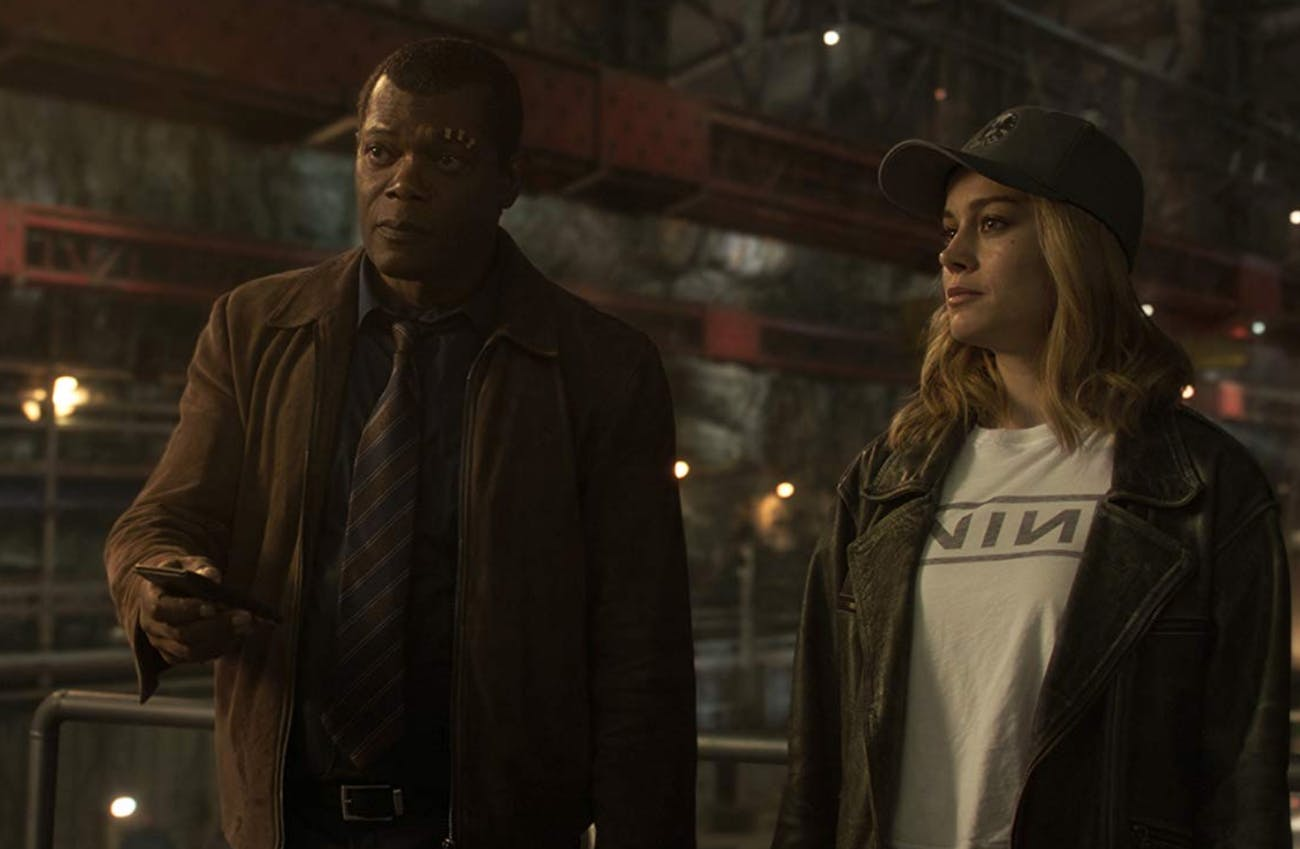 Samuel L. Jackson and Brie Larson in 'Captain Marvel'.