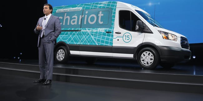 Mark Fields, President and CEO of Ford, speaks about Chariot transit service, which Ford acquired last September.