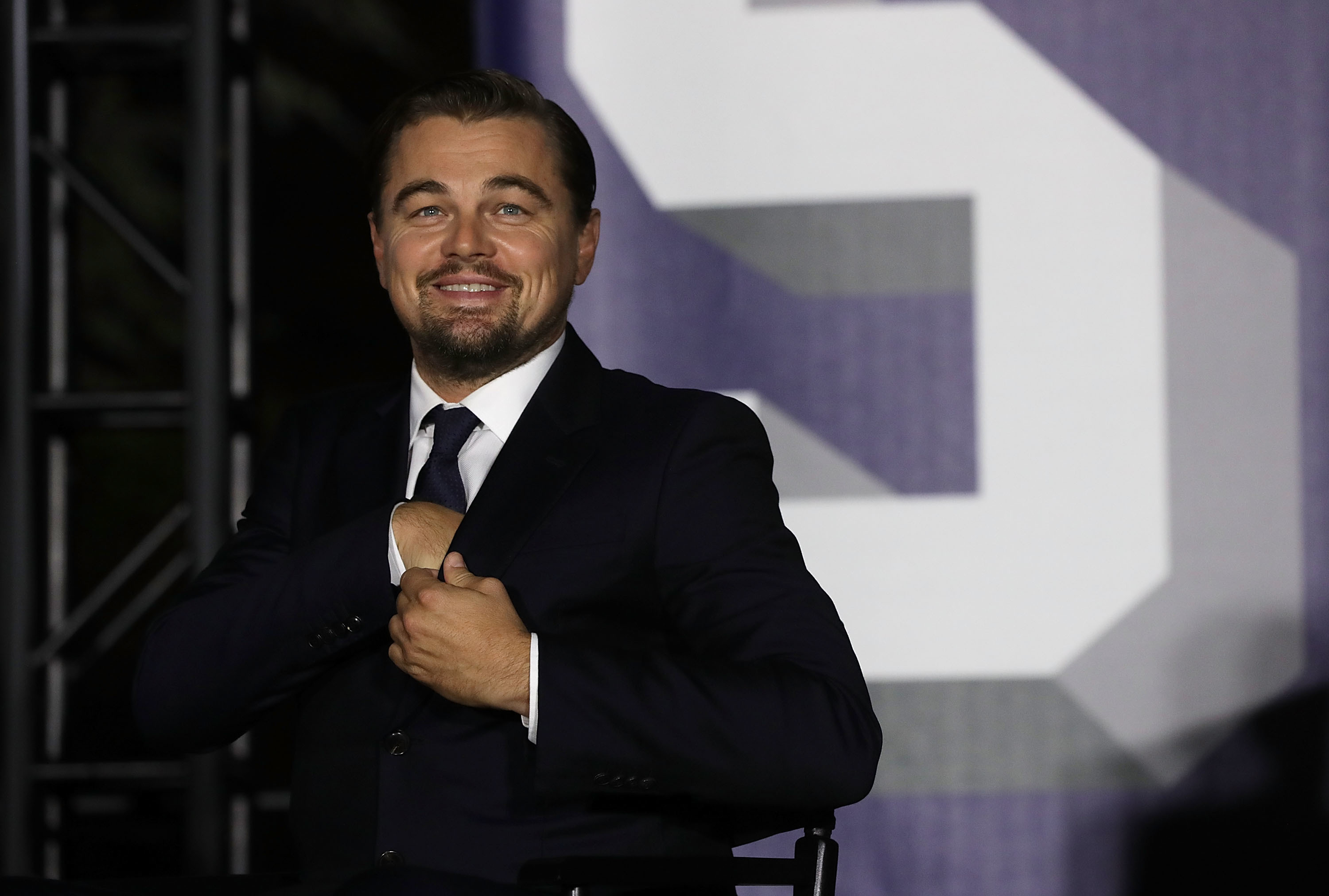 Leonardo DiCaprio took a shot at Donald Trump.