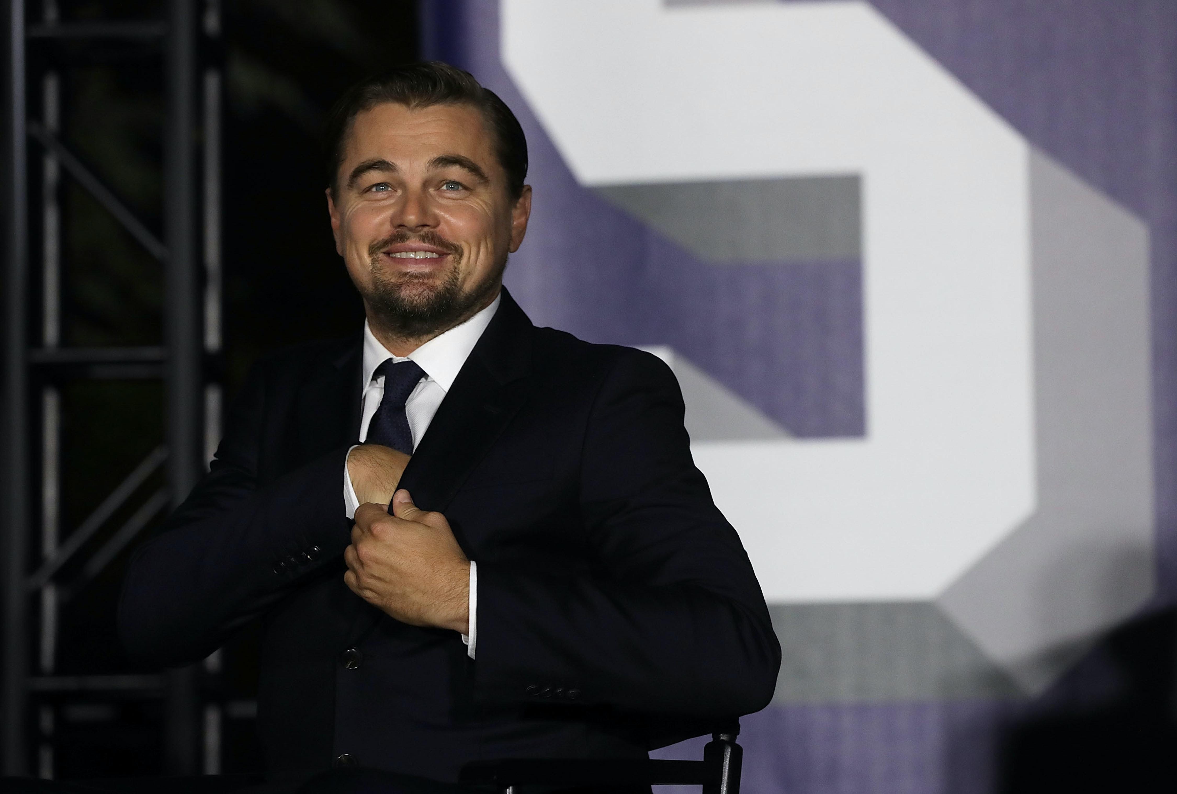 Leonardo DiCaprio took a shot at Donald Trump.
