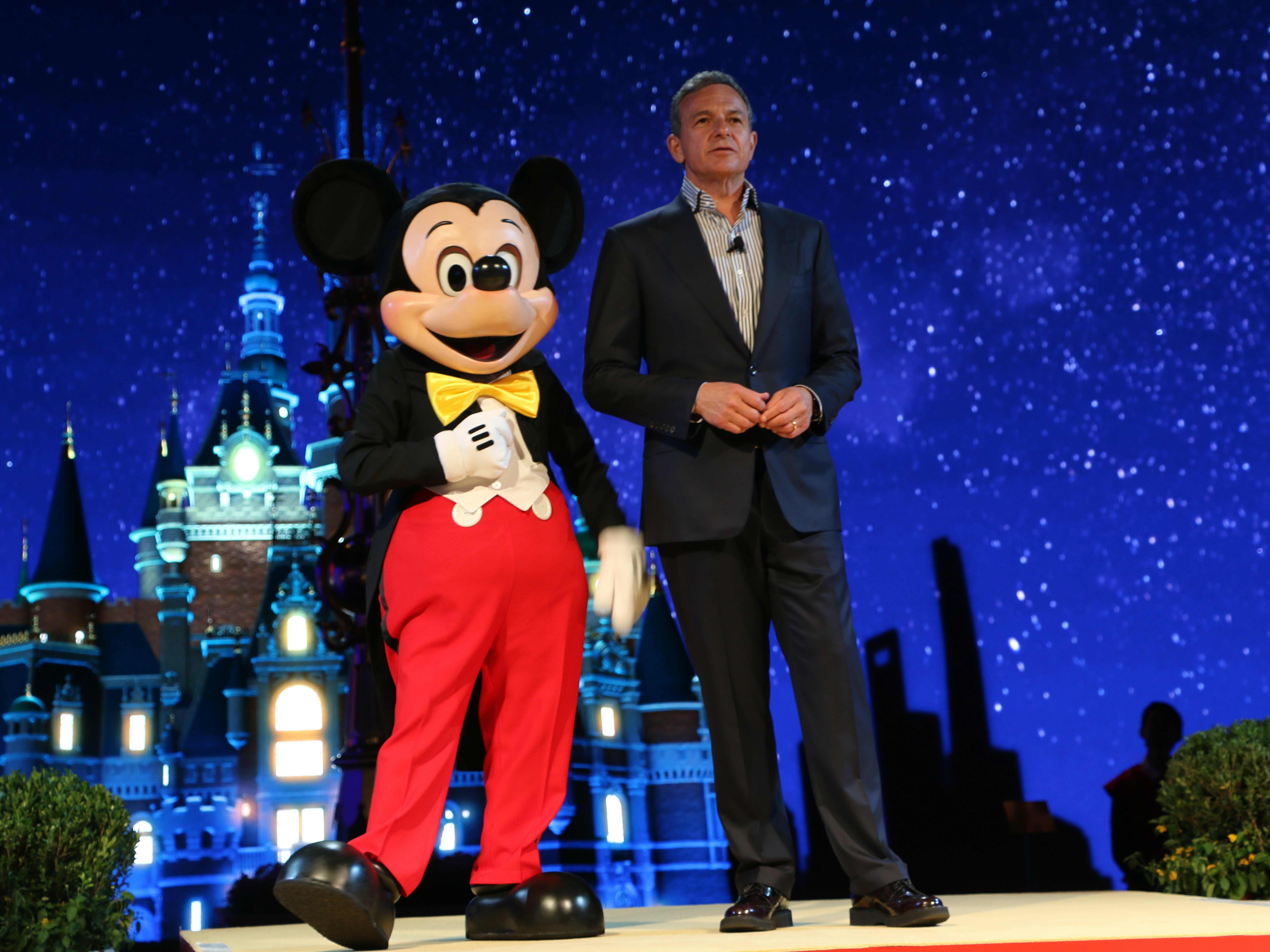 SHANGHAI, CHINA - JULY 15: (CHINA OUT) Robert A. Iger, Chairman and Chief Executive Officer of The Walt Disney Company, attends the unveilling ceremony of six themed parks of Shanghai Disney Resort at Shanghai Expo Center on July 15, 2015 in Shanghai, China. As the first Disney resort in China mainland, Shanghai Disney Resort includes the Magic Kingdom-style theme park, two themed hotels with a total of 1,220 rooms, a retail, dining and entertainment complex featuring a Broadway-style theater, as well as an outdoor recreational area. The Resort will open officially in 2016. (Photo by VCG/VCG via Getty Images)