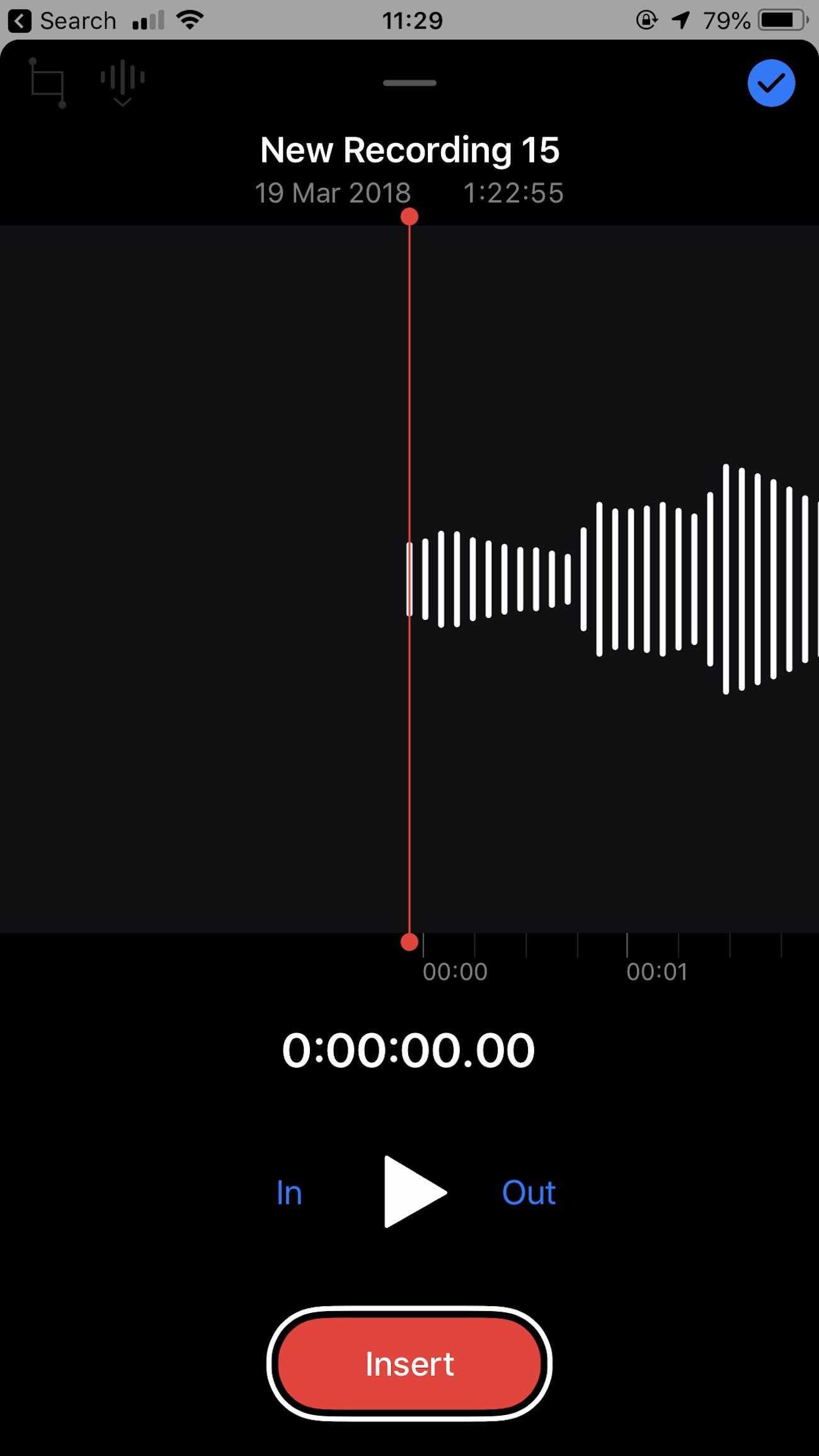 Voice Memos interface.
