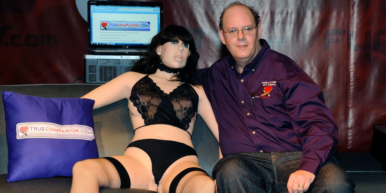 LAS VEGAS - JANUARY 09: Doug Hines, owner and designer for TrueCompanion, unveils Roxxxy, a prototype of what Hines said is the world's first female sex robot complete with artificial intelligence and equipped to carry a conversation at the 2010 AVN Adult Entertainment Expo at the Sands Expo and Convention Center January 9, 2010 in Las Vegas, Nevada. The AVN expo is the largest adult entertainment trade show in North America, drawing about 20,000 attendees and featuring close to 200 vendors. The show runs through January 10. (Photo by Ethan Miller/Getty Images)