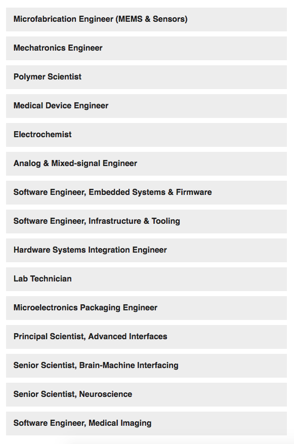 The open positions at Neuralink.