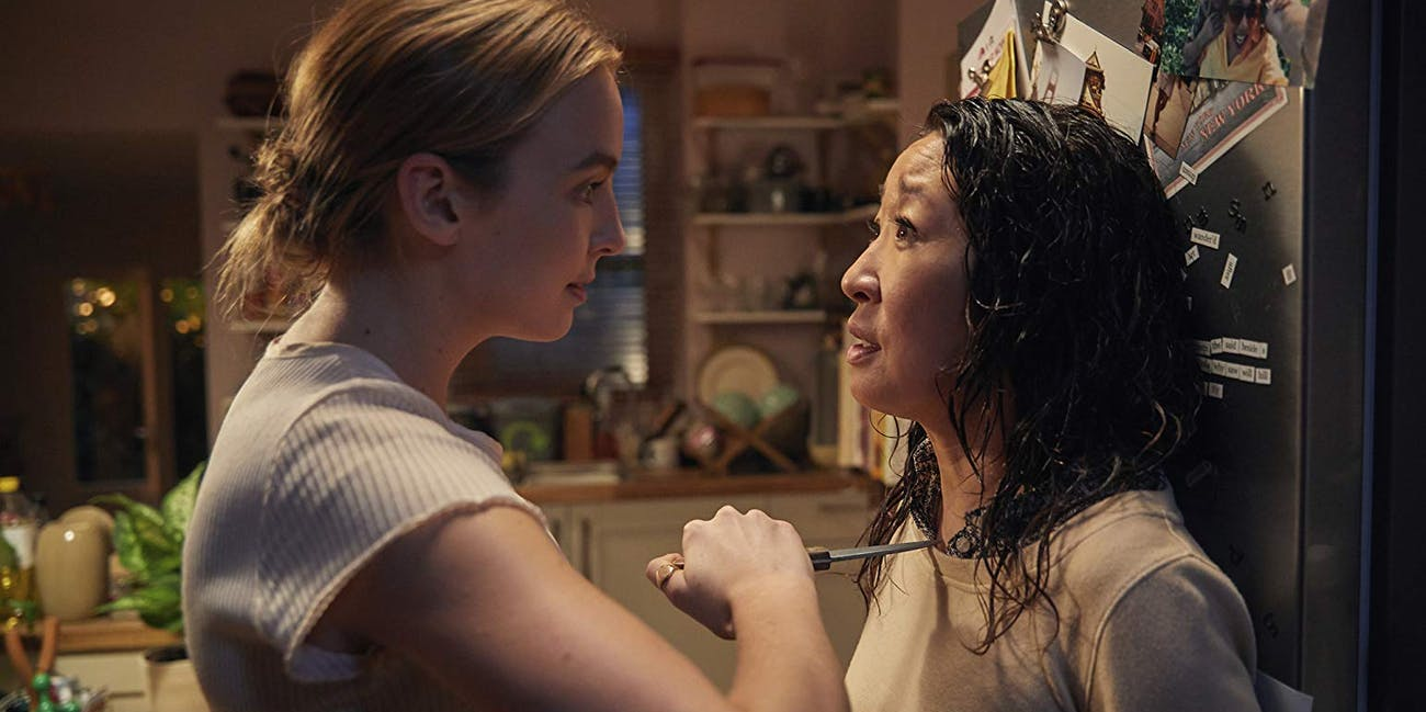 Villanelle (Jodie Comer) and Eve (Sandra Oh) in 'Killing Eve'