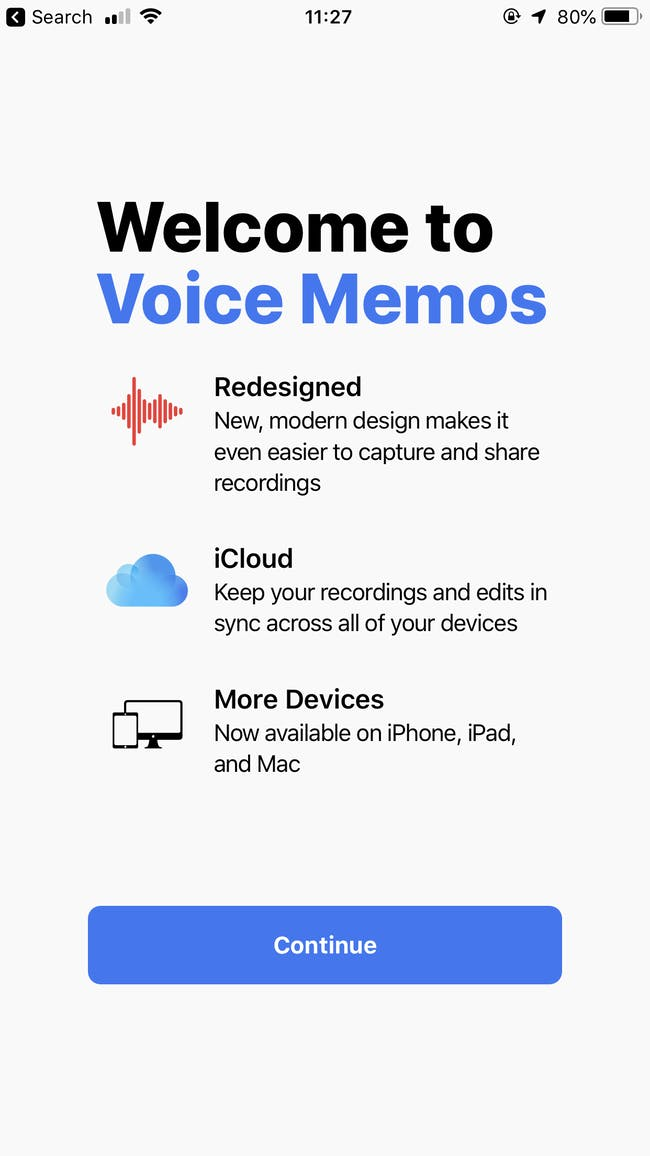 Voice Memos splash screen.