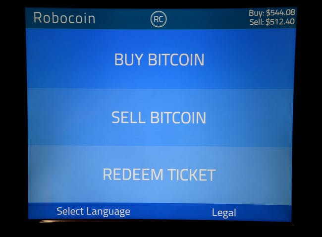LAS VEGAS, NV - MAY 24: The display screen of a Robocoin ATM that accepts Bitcoin at the D Las Vegas is shown on May 24, 2014 in Las Vegas, Nevada. The machine, the first Bitcoin ATM ever placed in a casino, allows customers to exchange Bitcoin into cash and vice versa. The D began accepting the digital currency in January for nongaming transactions. (Photo by Ethan Miller/Getty Images)
