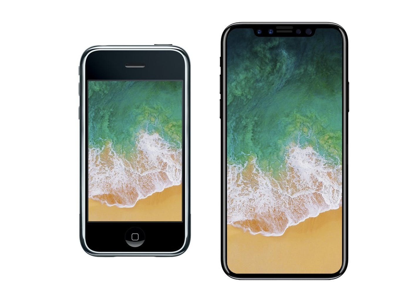 The original iPhone left compared to the rumored iPhone 8