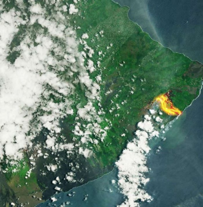 Satellite image of lava from Kilauea Volcano