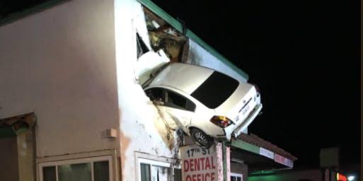 Car flies through second floor window in Santa Barbara, California