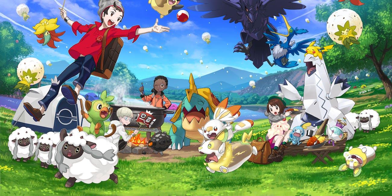 Pokemon Sword and Shield Key Art Making Friends