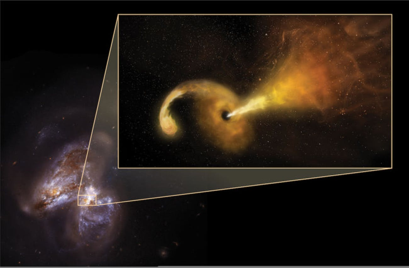 black hole eating a star