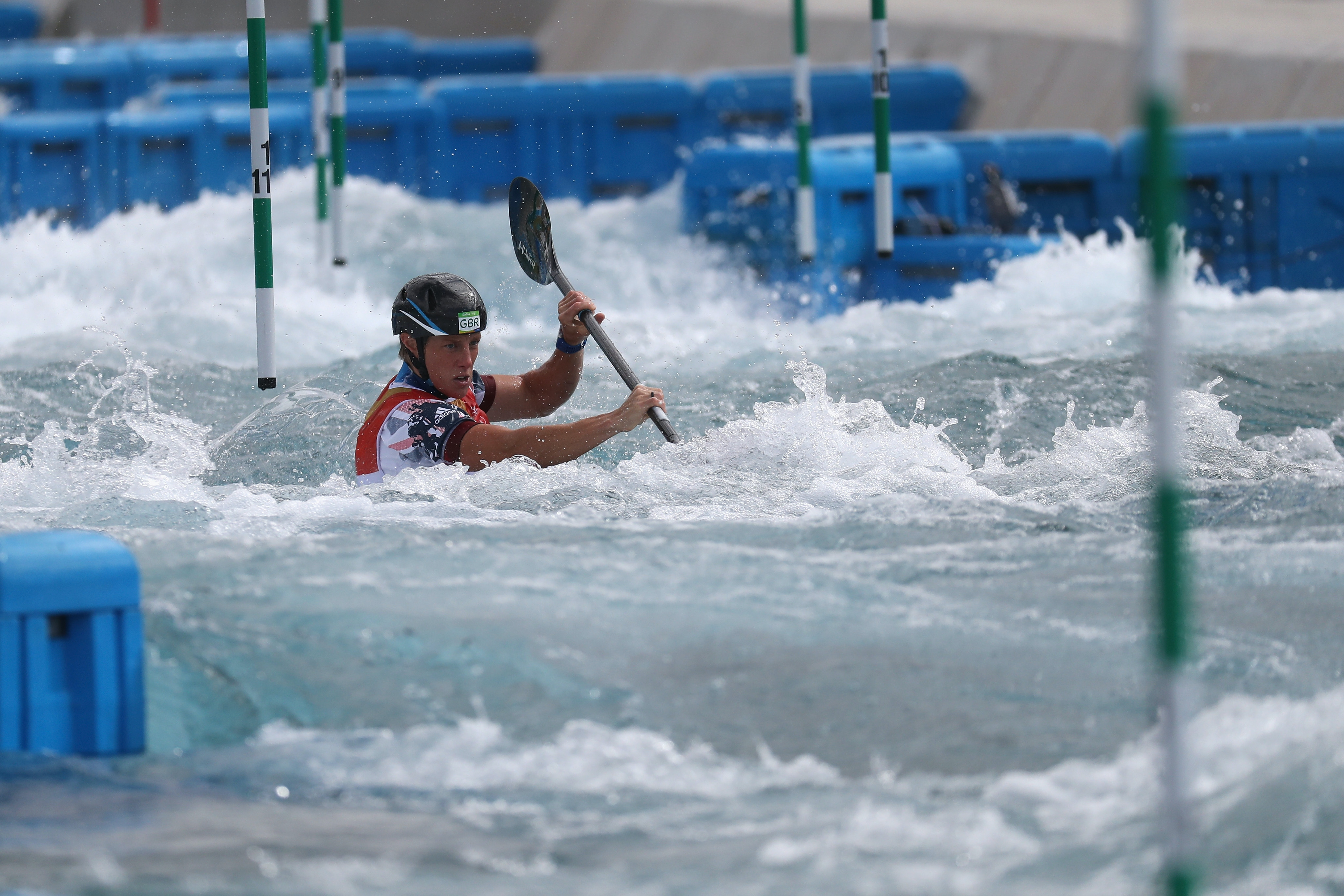 Fiona Pennie of Great Britain during the Women's Kayak Semi-final in Rio.