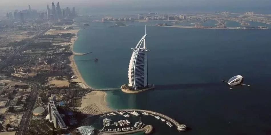 An artists rendering of an Ehang 184 above Dubai.