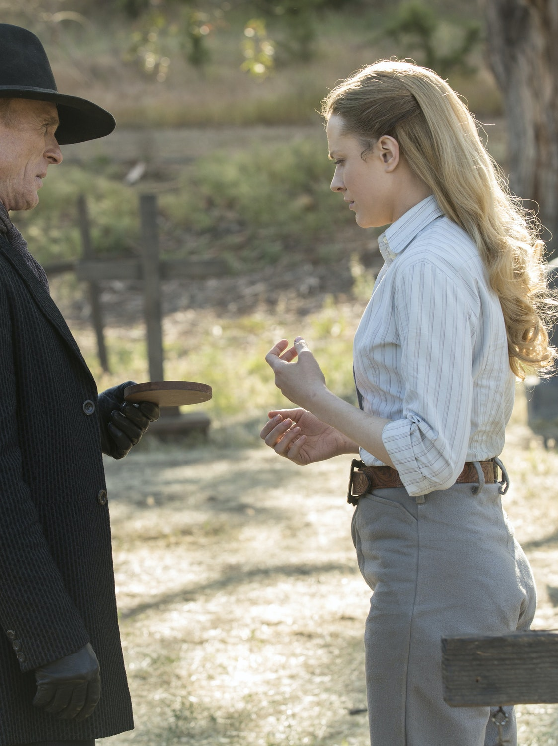 Ed Harri and Evan Rachel Wood in 'Westworld'
