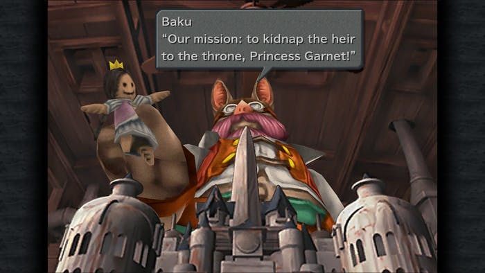 Baku informs the player about the opening mission to kidnap the princess.