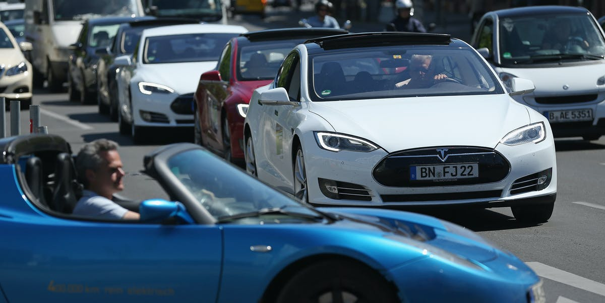 Teslas in the mix.