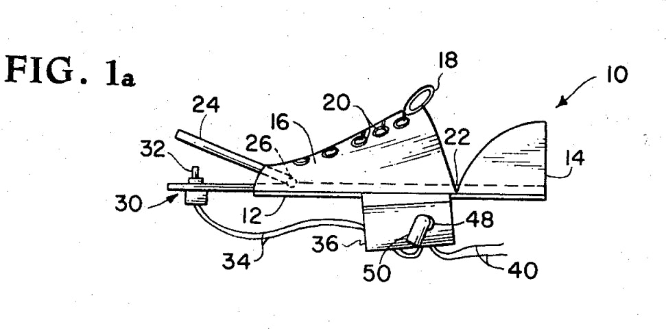 A diagram sketches out potential designs for a jet shoe.