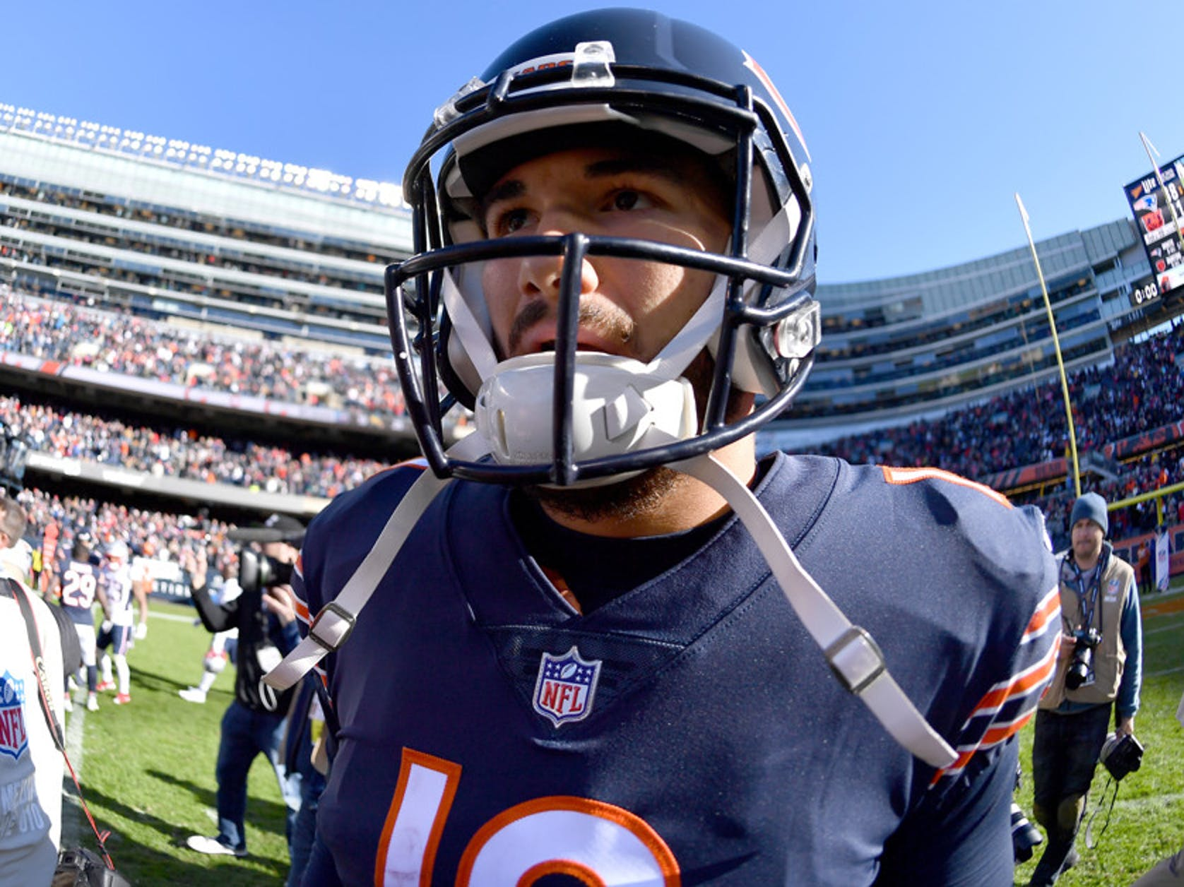 Chicago Bears quarterback Mitchell Trubisky (10) walks off the field after the game between the Chicago Bears and the New England Patriots on October 21, 2018 at Soldier Field in Chicago, Illinois.