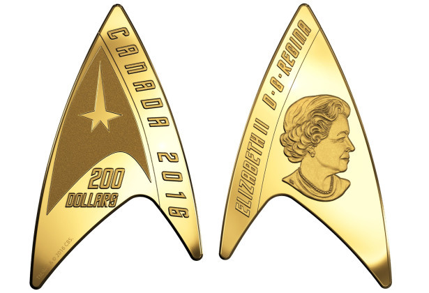 The pure gold Star Trek Delta Coin.