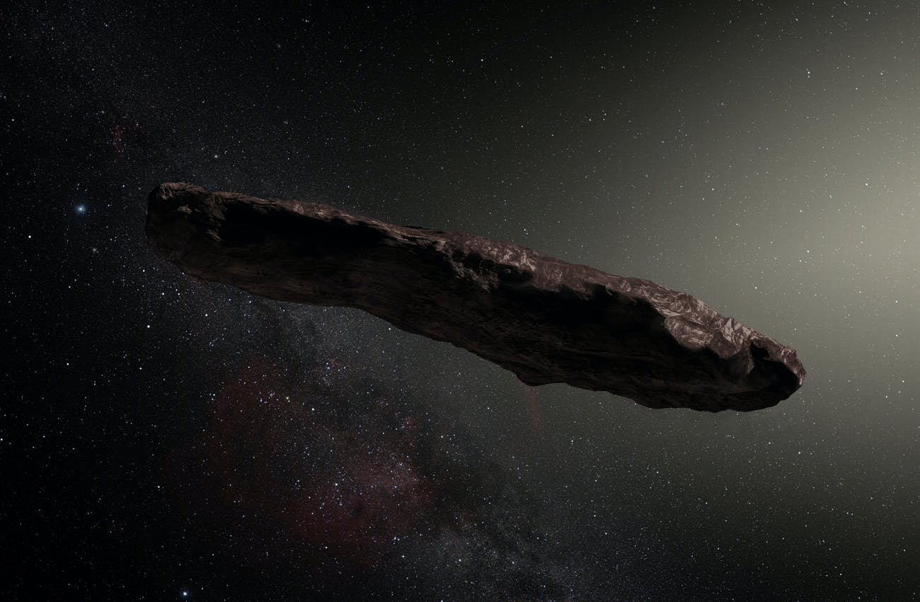 Artist's impression of 'Oumuamua.