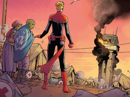 New 'Captain Marvel' Drapes a UN Flag Over An Alien Refugee