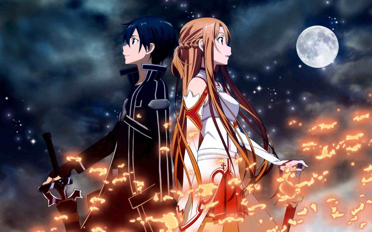 Kirito and Asuna as they appear within 'Sword Art Online.'