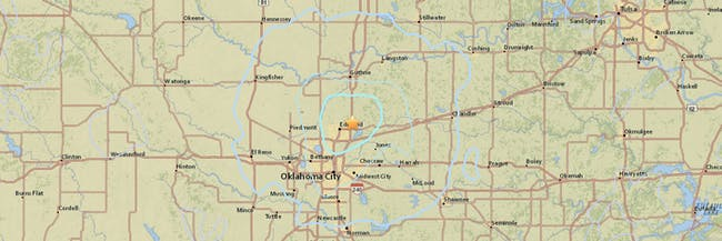 USGS map earthquake Oklahoma