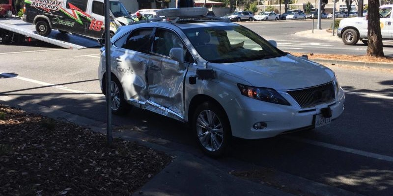 Google's self-driving car after a crash on September 24, 2016 in Palo Alto, California