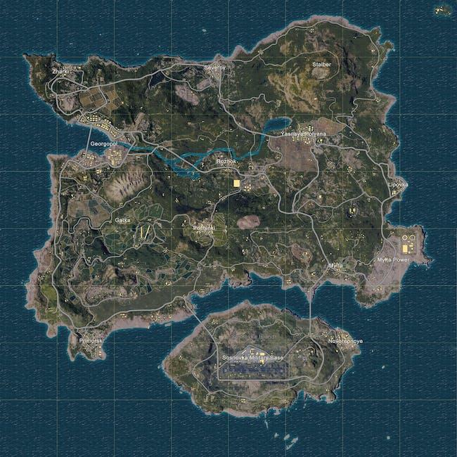 The island of Erangel is 64 square kilometers in size.
