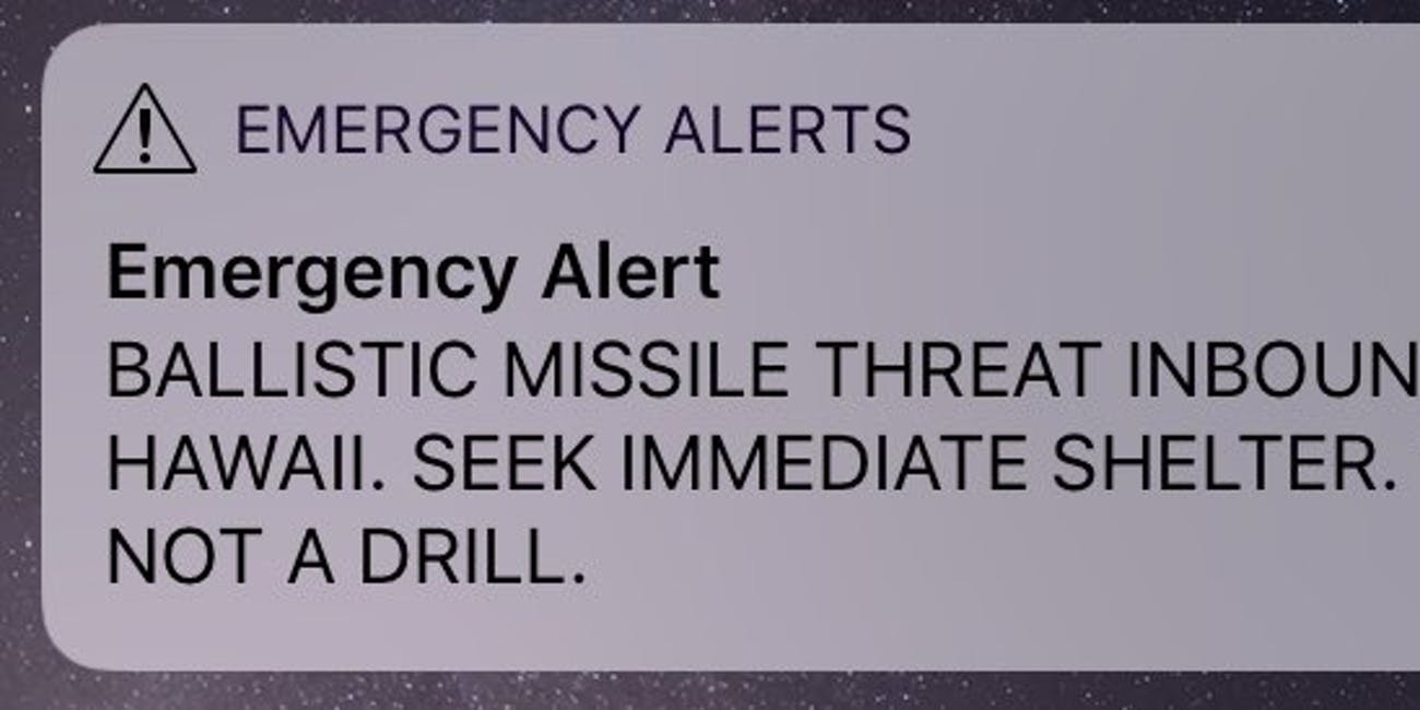 p.p1 {margin: 0.0px 0.0px 0.0px 0.0px; font: 18.0px Georgia}    BALLISTIC MISSILE THREAD INBOUND TO HAWAII. SEEK IMMEDIATE SHELTER. THIS IS NOT A DRILL.