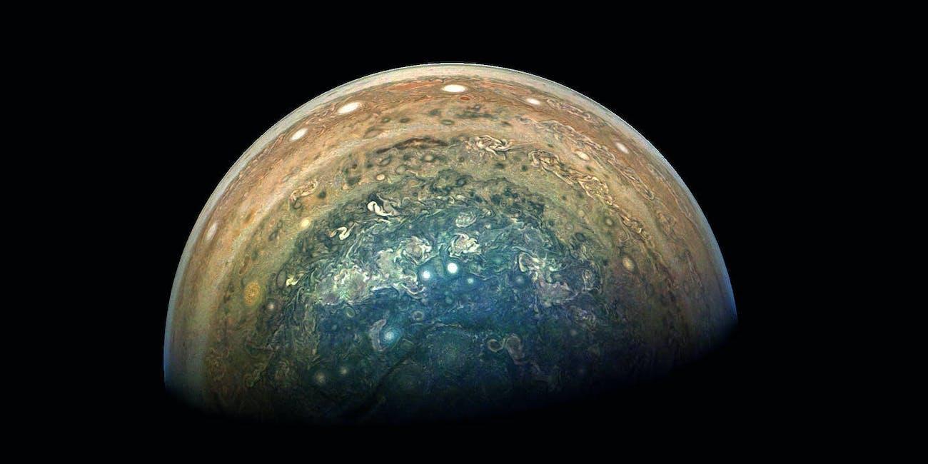 Jupiter's swirling south polar region captured by NASA's Juno spacecraft.