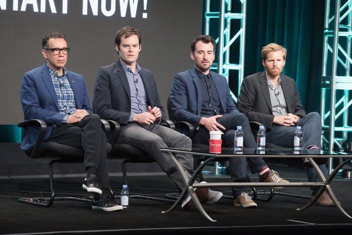 'Documentary Now' creator/executive producer/writer/star Fred Armisen, creator/executive producer/writer/star Bill Hader, creator/executive producer/director Rhys Thomas and executive producer/director Alex Buono.