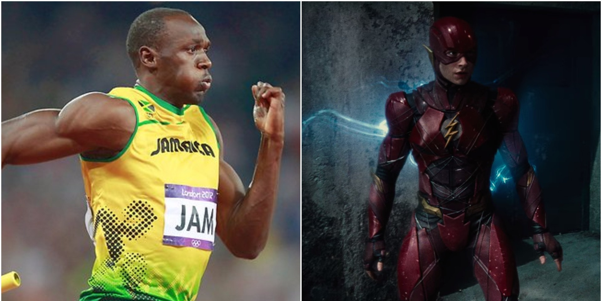 Ezra Miller as The Flash and Usain Bolt