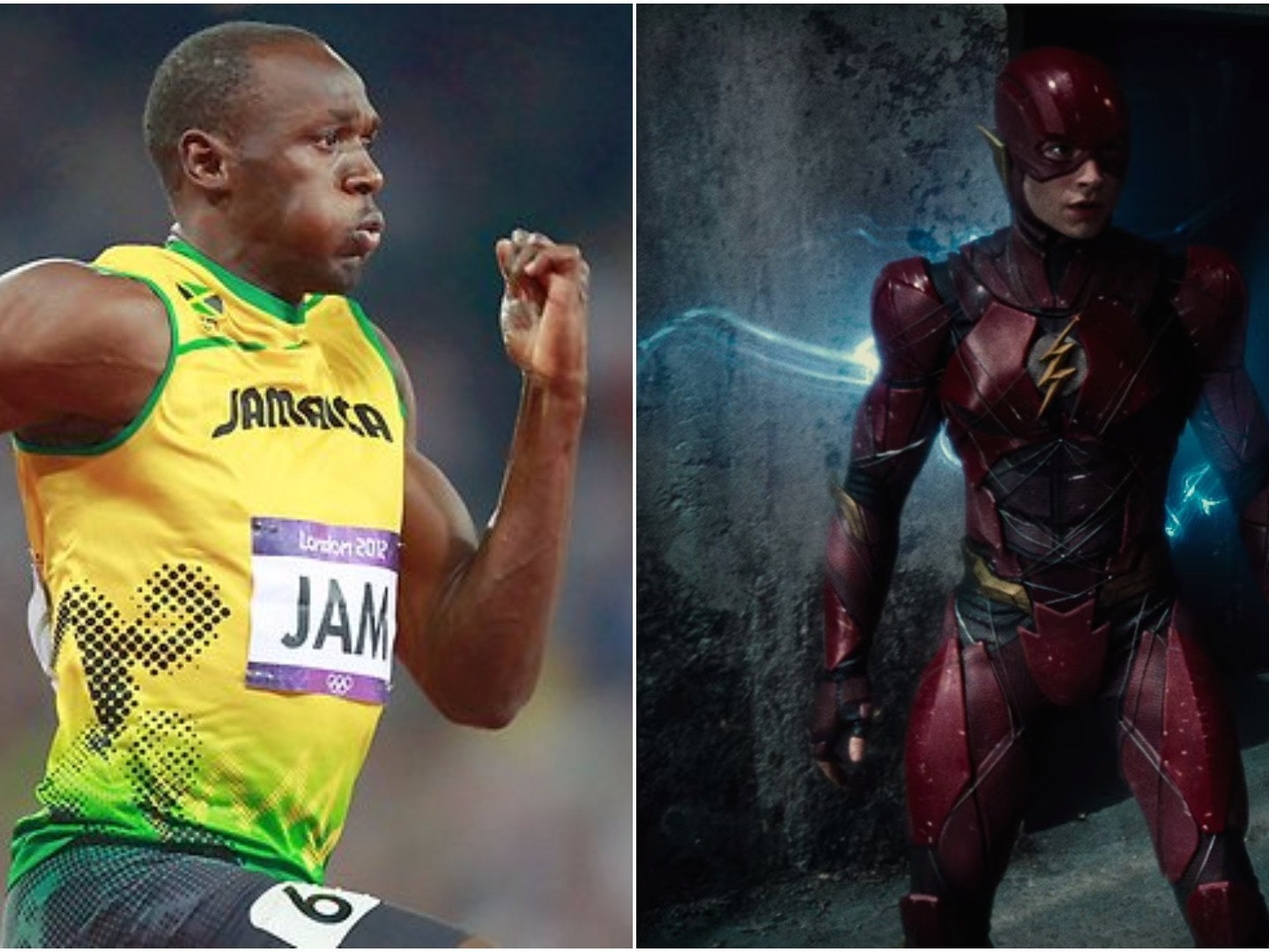 Ezra Miller as The Flash and Usain Bolt