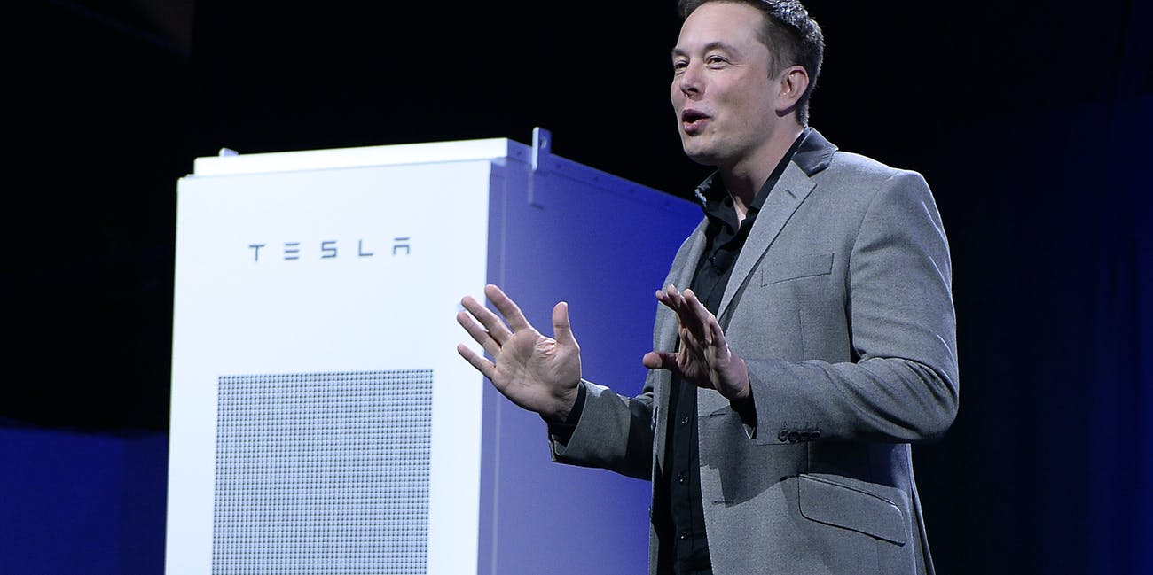 Tesla chief executive Elon Musk announces the Powerpack battery in Los Angeles.