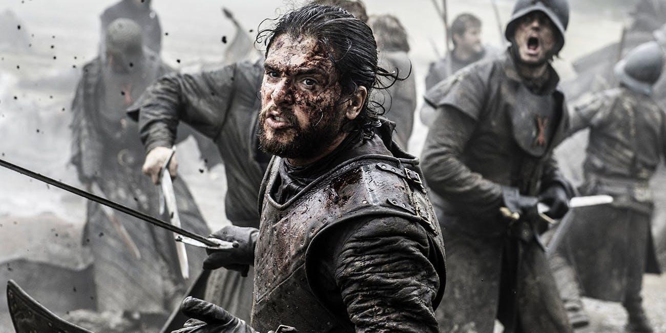 Jon Snow in the epic Battle of the Bastards from Season 6.