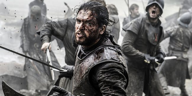 Jon Snow in the epic Battle of the Bastards from Season 6.