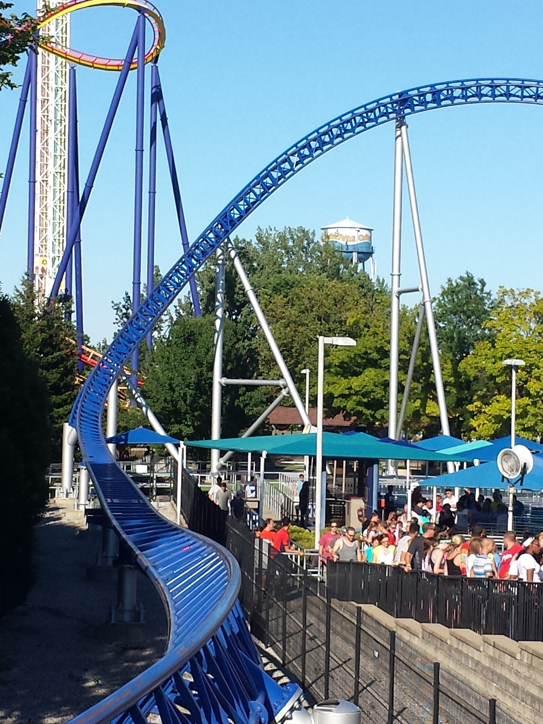 Visitors waiting in line at Cedar Point