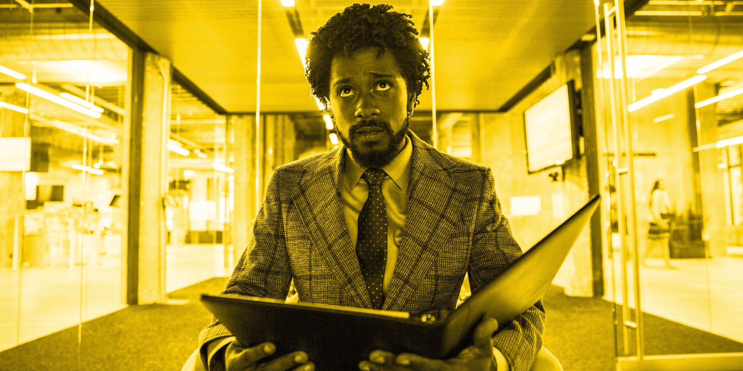 """Lakeith Stanfield as Cassius """"Cash"""" Green becomes a """"power caller"""" in 'Sorry to Bother You'."""