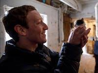 Mark Zuckerberg holding a barn kitten.
