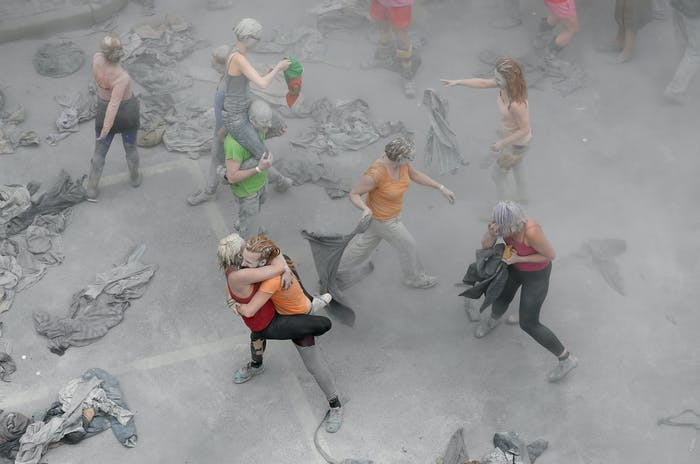 HAMBURG, GERMANY - JULY 05: Prostestors dressed-up in grey clothes like Zombies attend an arts performance called '1000 Gestalten' demonstration prior the upcoming G20 summit on July 5, 2017 in Hamburg, northern Germany. In a two-hour show hundreds of actors took part in a creative public appeal for more humanity and self-responsibility ahead of the upcoming G20 summit. The G20 economic summit takes place in Hamburg July 7-8. (Photo by Friedemann Vogel-Pool/Getty Images)
