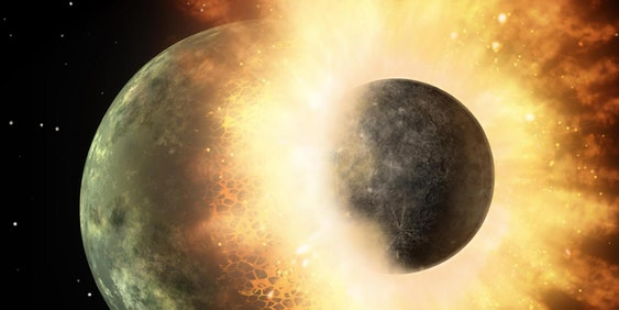 Artist's rendering of the collision between Earth and a planet resembling Mercury.