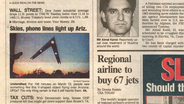 "The ""Phoenix Lights"" got so popular that a story ran in USA Today."