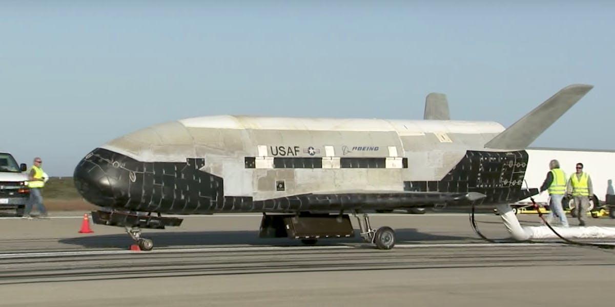 The X-37B Orbital Test Vehicle landing in 2012.