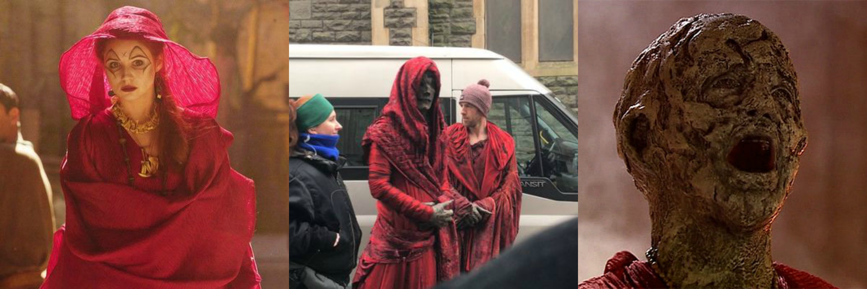"Karen Gillan as a Sibylline Sister in ""Fires of Pompeii,"" one of the new monsters spotted on the set of Season 10, and the High Priestess of the Sibylline Sisterhood in the midst of her transformation into a Pyrovile."