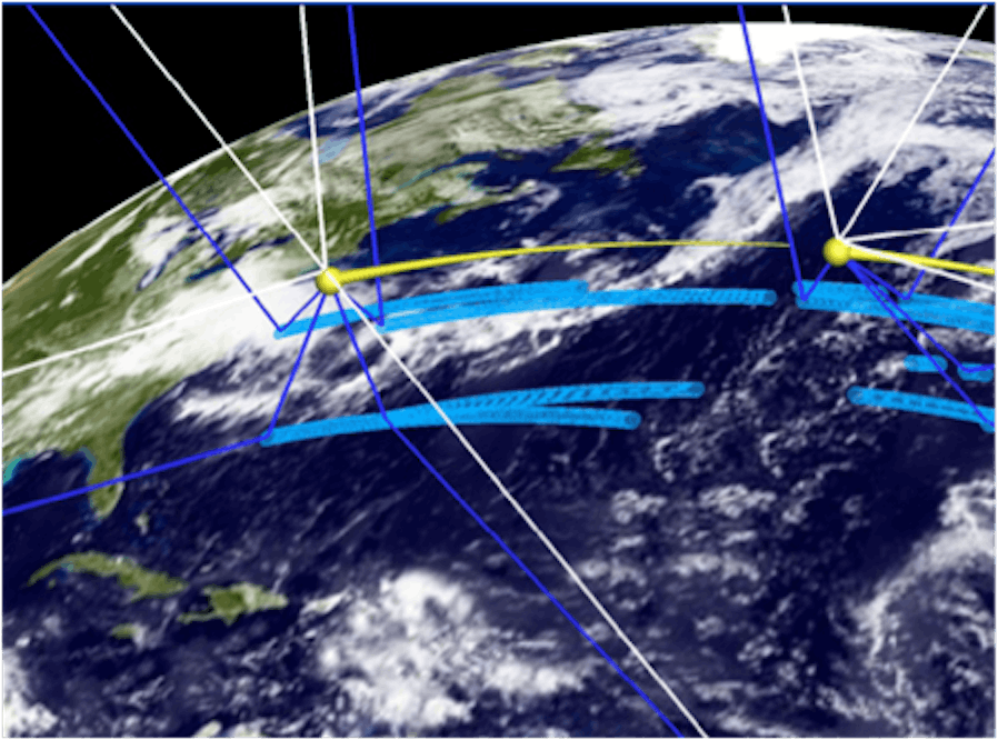 Each CYGNSS spacecraft can view four spectral points at any given time.