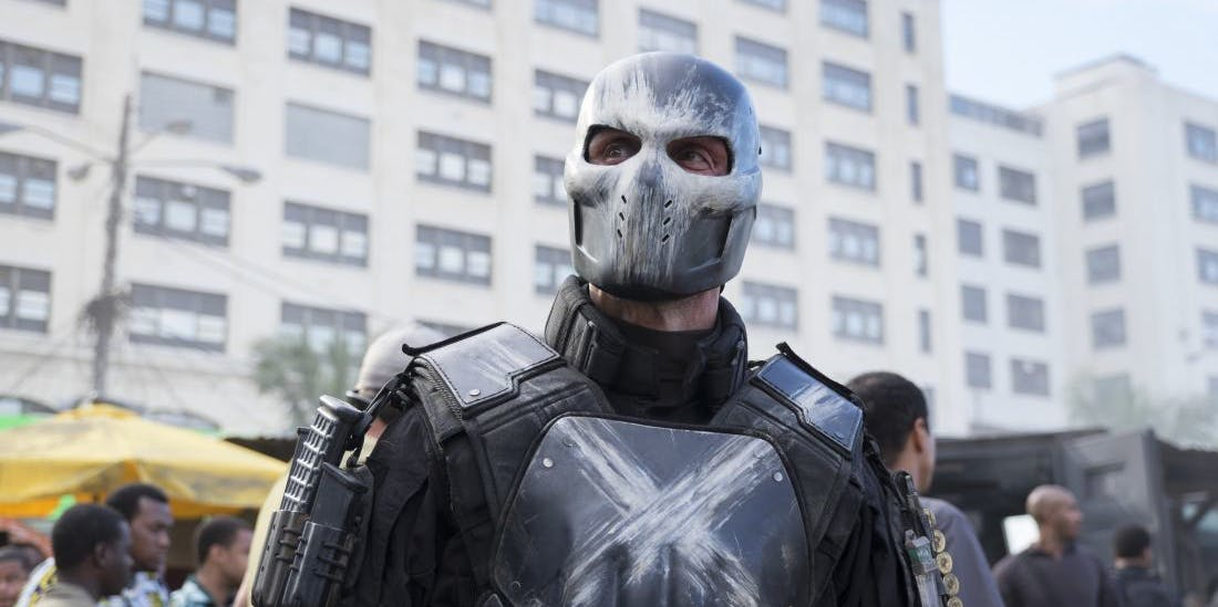 Actor Frank Grillo says that Crossbones won't be returning to the MCU, because he frickin' died, bro.
